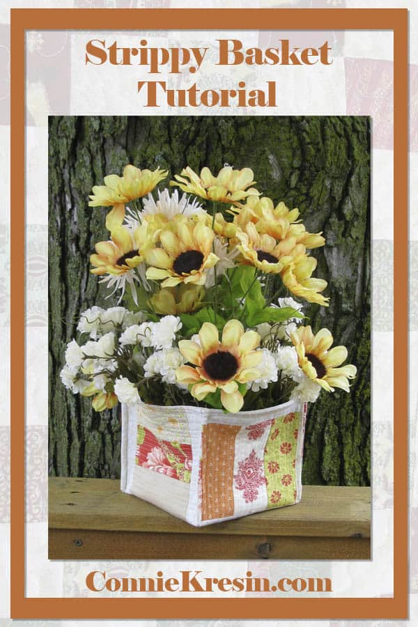 Strippy fabric basket tutorial that is fast and easy to make with your scraps of quilt fabric