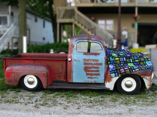Rat Rod old truck and Scattered quilt