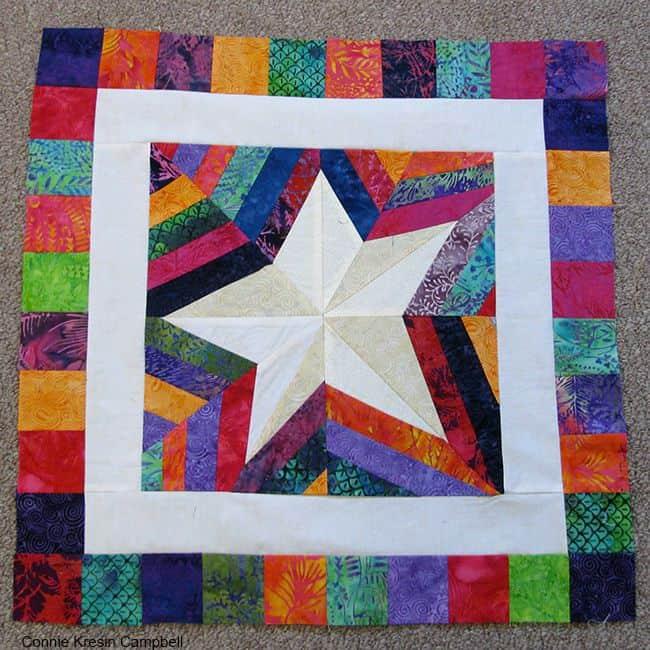 Paper Pieced Wonky Batik Star