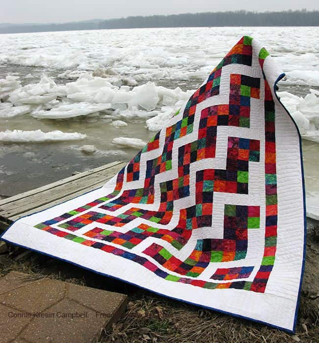 Confetti Steps quilt by Ice Jam on the River