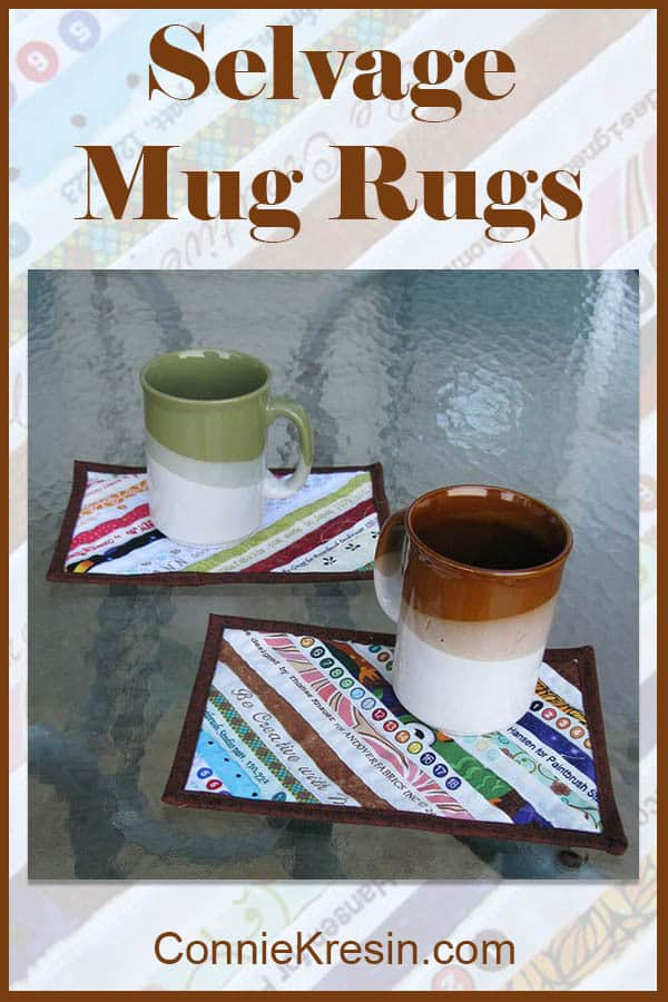 Selvage mug rugs sewn diagonally tutorial