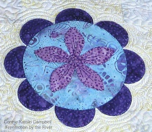 Summer Flower Table Runner Tutorial Closeup applique