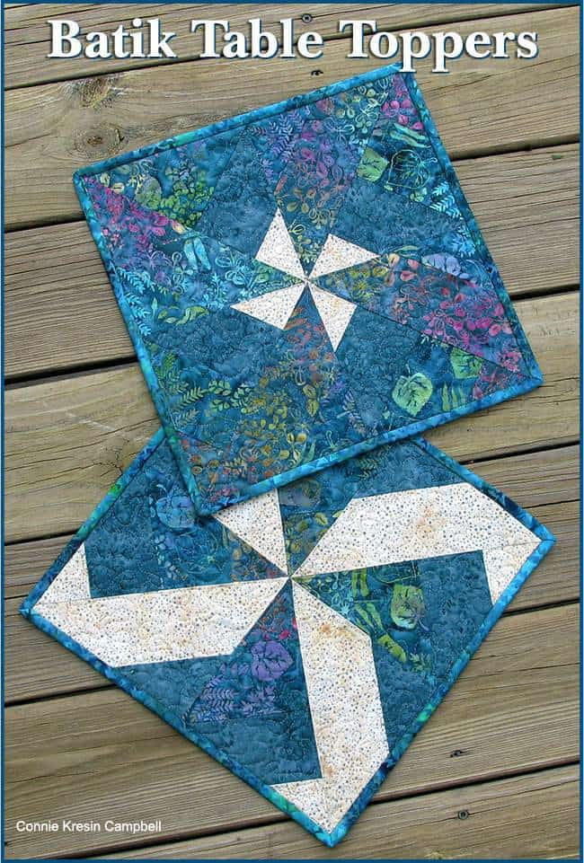 Batik table toppers made from blocks from my original tutorial