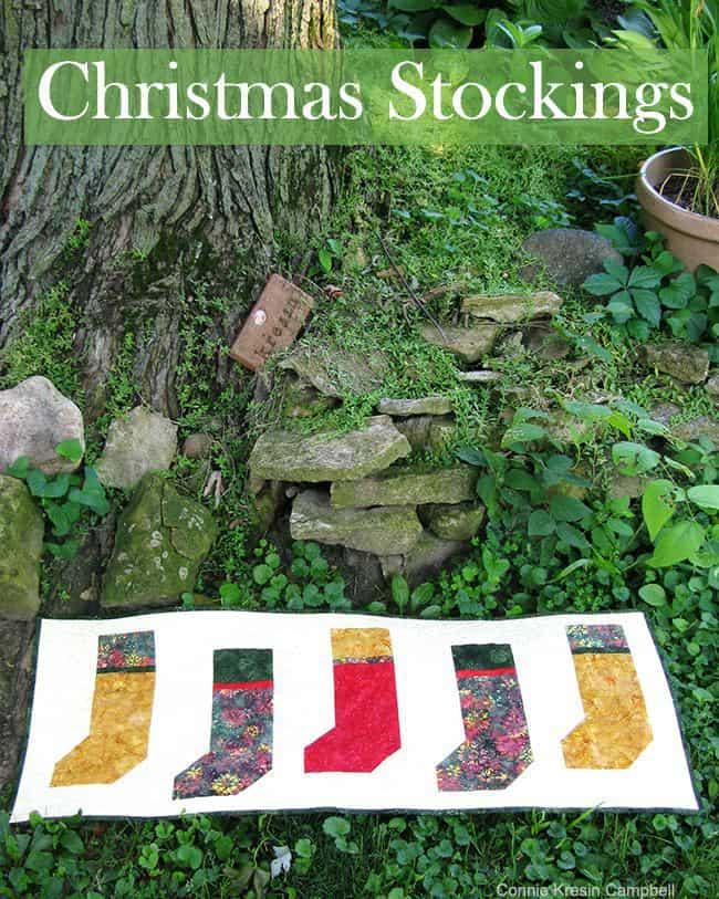 Christmas Stockings Batik Table Runner