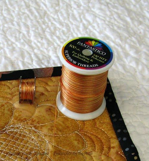 Gold Fantastico thread on a mug rug
