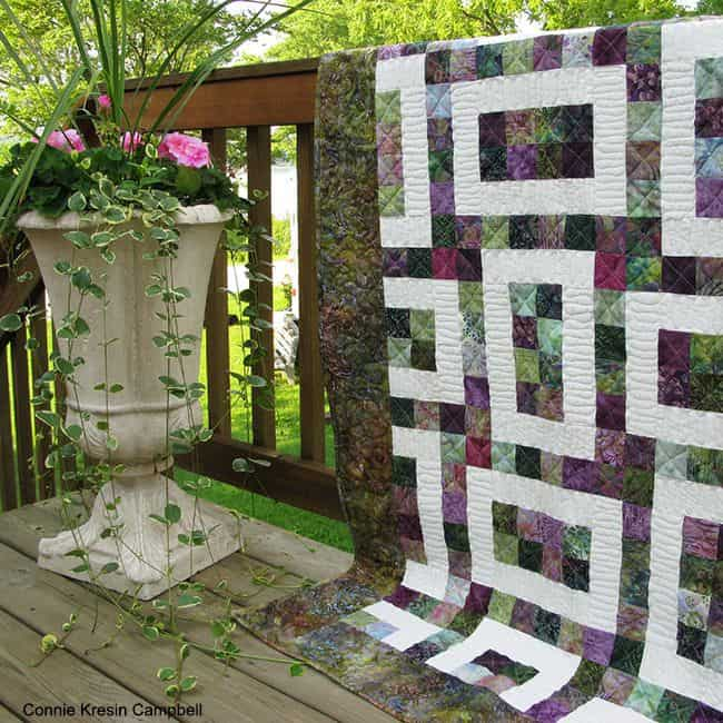 Batik Hopscotch 2 pattern and flowers on the deck