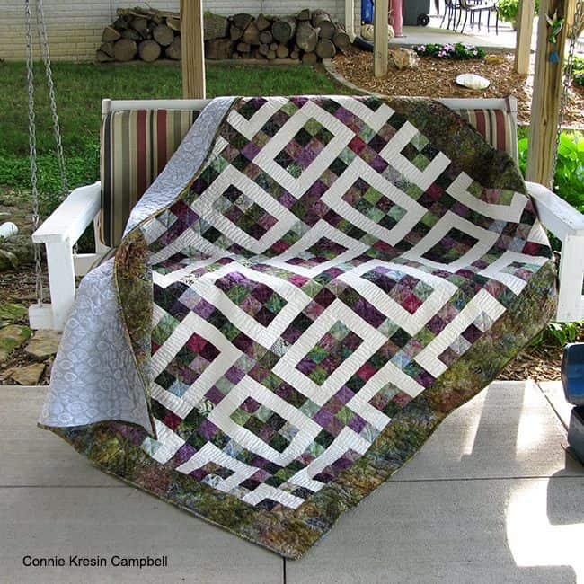 Hopscotch Batik Quilt 2 on swing