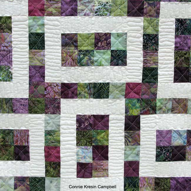 Hopscotch closeup of freemotion quilting