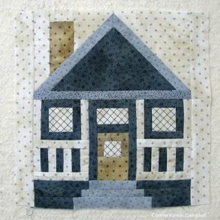 Cut quilted House block from Fat Quarter Shop