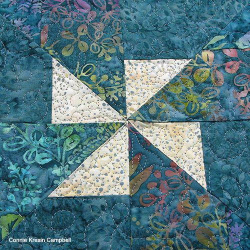 closeup of the batik teal pinwheel