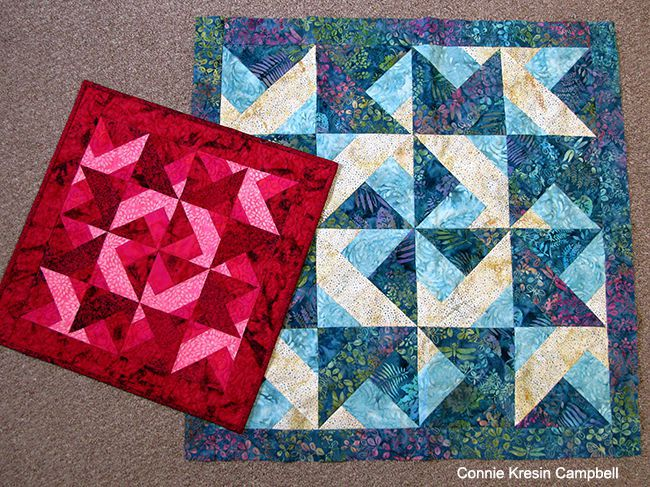 two sizes of batik wall hangings for tutorial