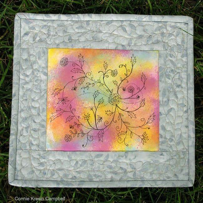 Painted Fabric Art Mini Quilt