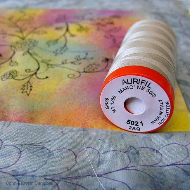 DIY Ink Flowers with Aurifil thread