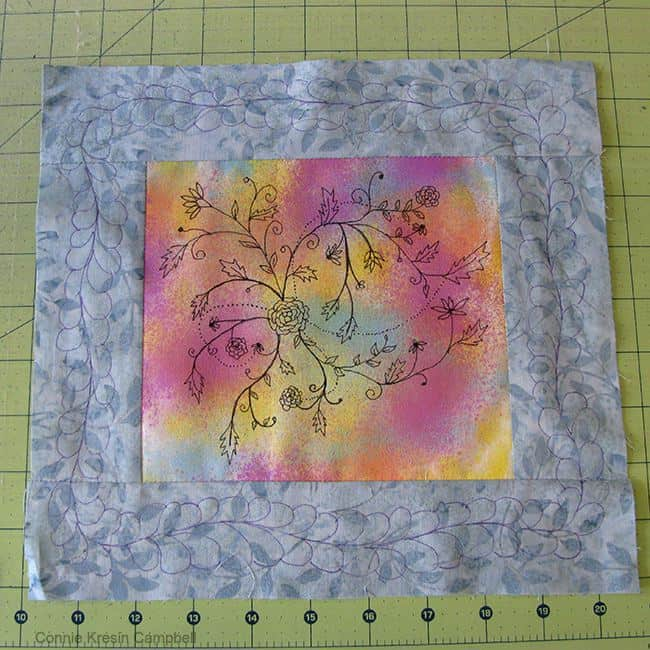 marking the free motion quilting design on Inked Flowers
