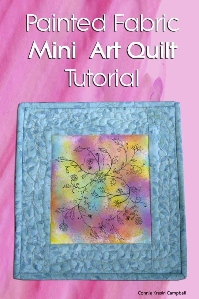 Painted Fabric Mini Art Quilt Tutorial Pin