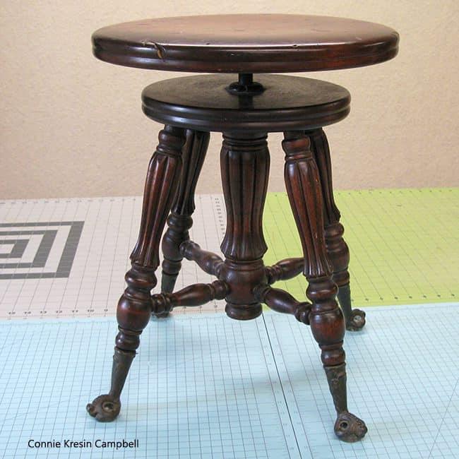vintage Sewing machine stool closeup