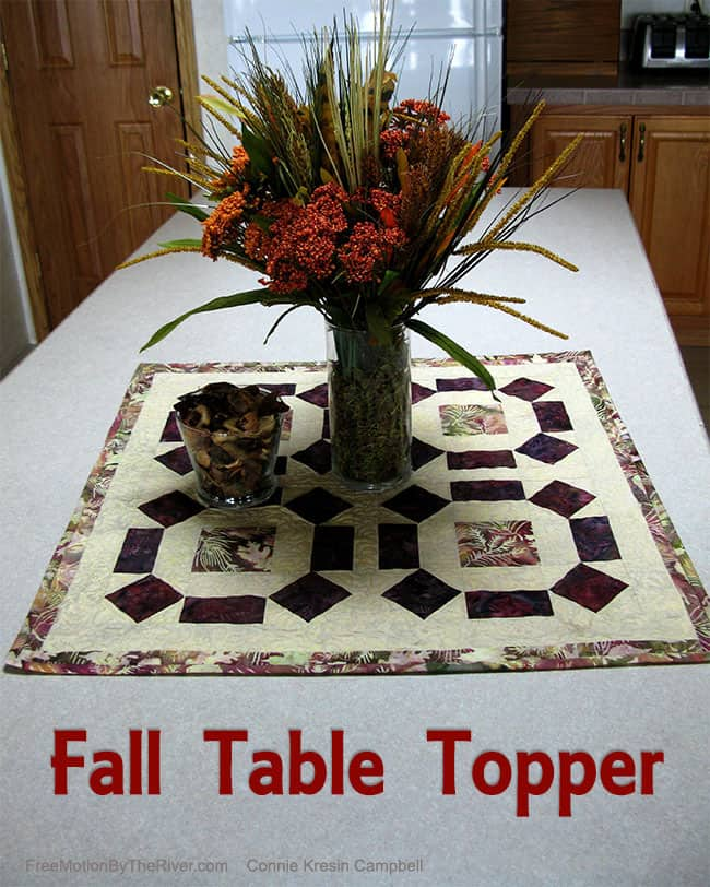 Fall Table Topper made from batiks decorations from the Dollar Store