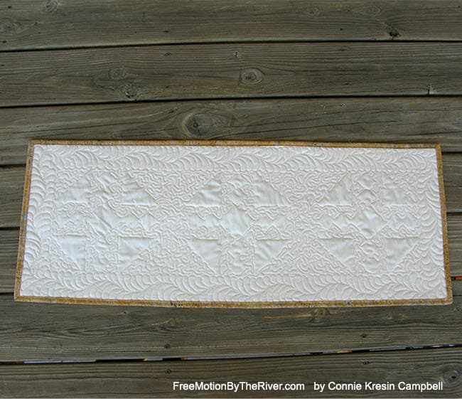 Fall TableRunner with free motion feathers