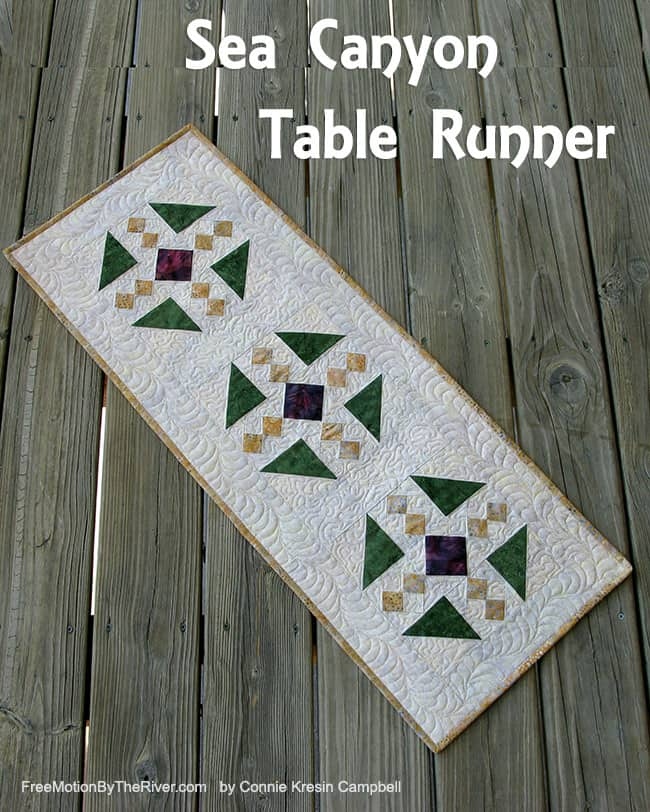 Fall tablerunner made with the Sea Canyon collection of batiks