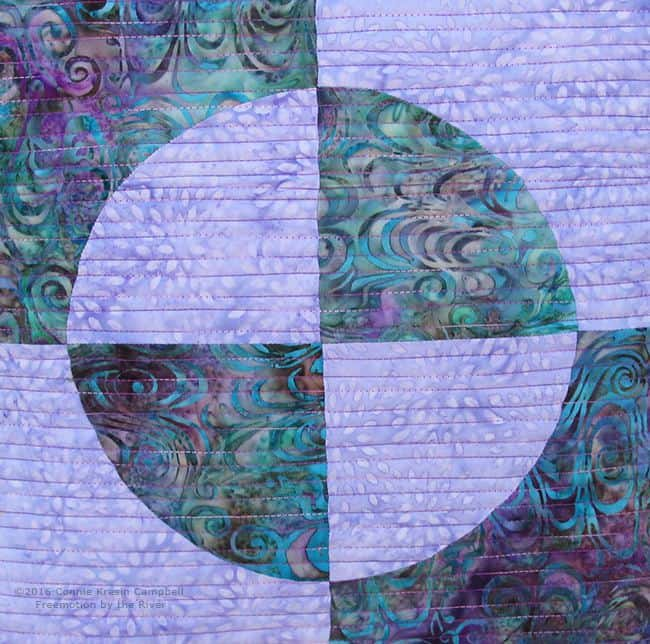 Drunkard's Path quilting closeup