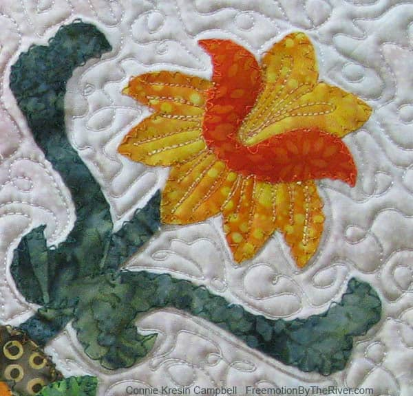 Folk Art Quilted Traditions applique done on a old Singer straight stitch sewing machine