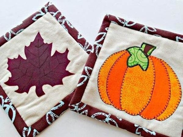 Fall roundup mug rugs