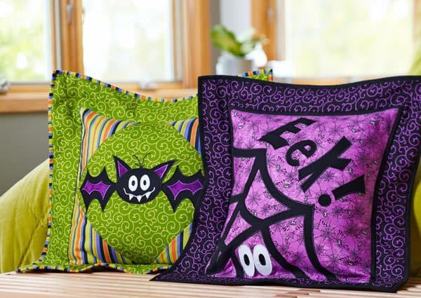 Halloween roundup of free quilt patterns Happy Haunts Pillows