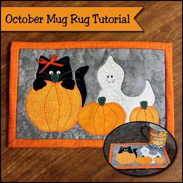 Halloween Roundup mug rug of cute little kitty, ghost and pumpkins