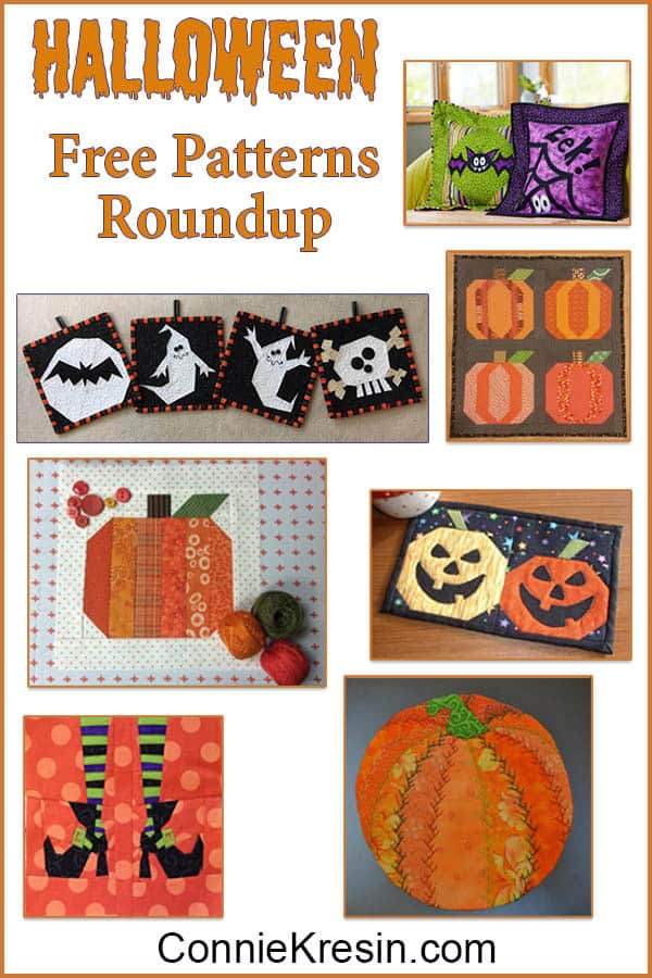 Halloween Roundup of tutorials for quilted projects that are free
