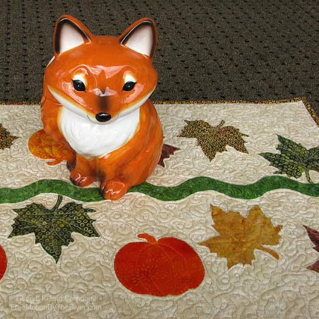 Pumpkin Fest Fox Cookie Jar on table runner