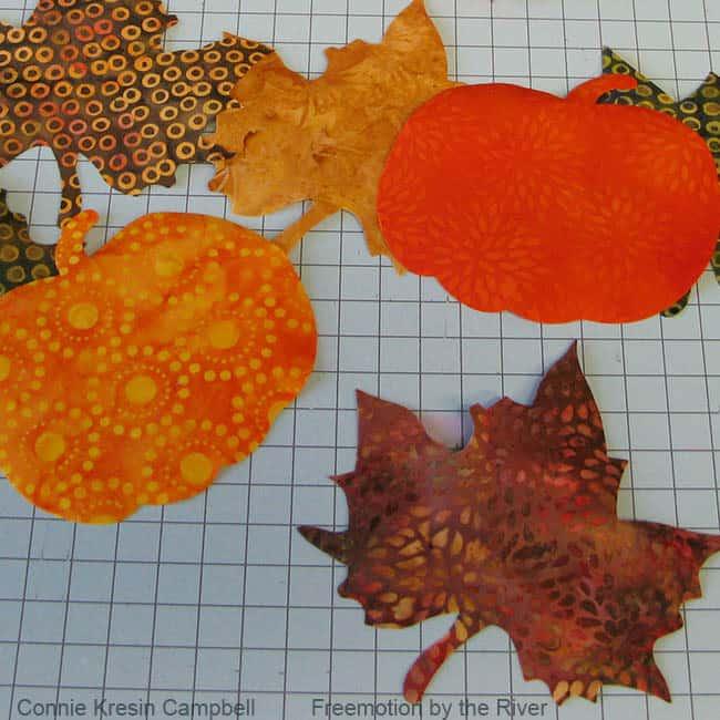Pumpkin and leaves in batik cut with AccuQuilt cutter