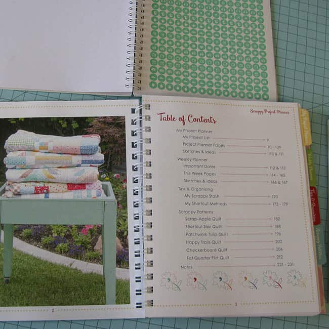 Table of contents for the Scrappy Project Planner