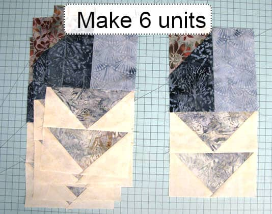 AccuQuilt Winter Blues table runner tutorial sewing sections completed