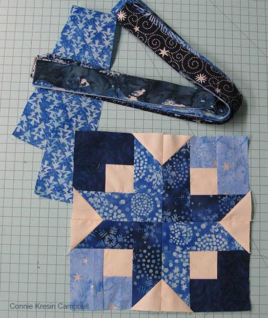 Batik Blue Strips for Box Block