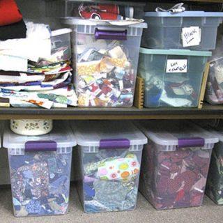 Fabric scraps in totes
