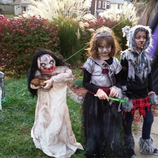 Halloween with Walking Dead Prom Queen and Wolf Girl
