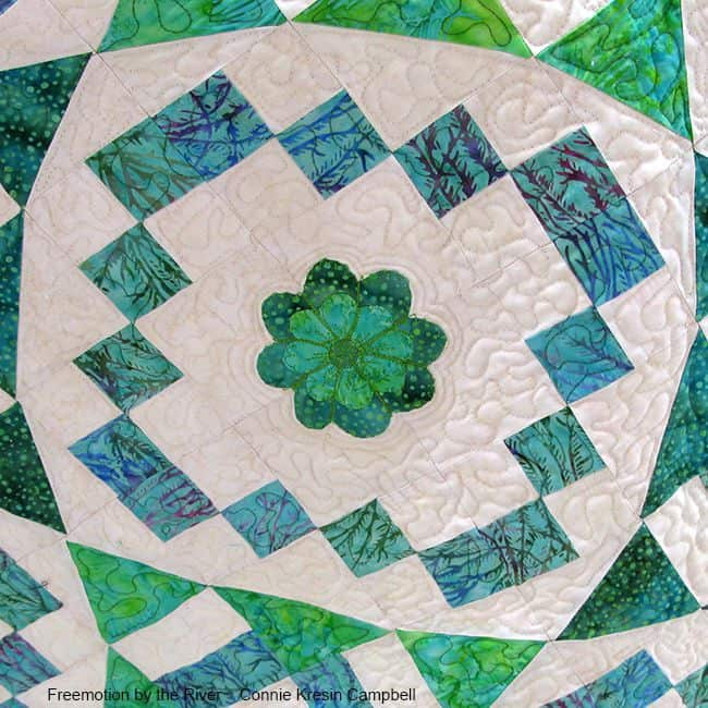 River Swirls applique on quilt