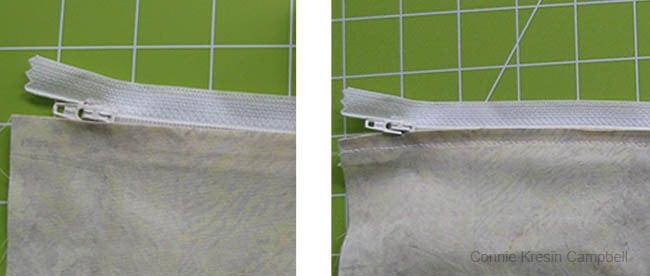 Stitch the zipper on backing