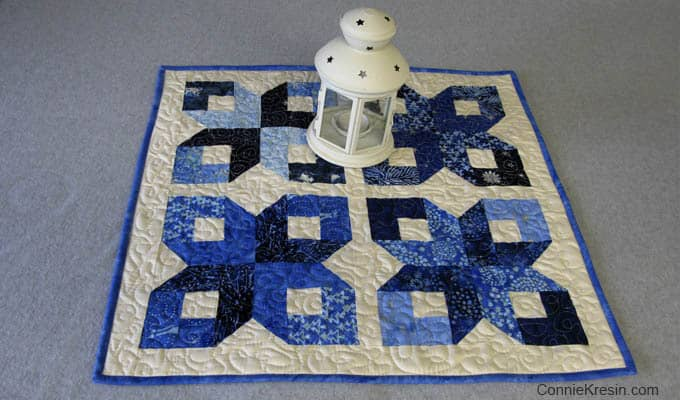 blue box table topper tutorial