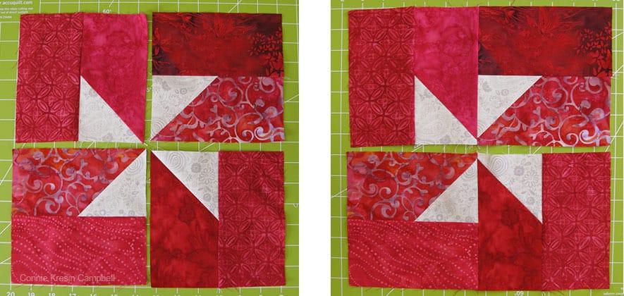 Piecing the Christmas Pinwheels blocks