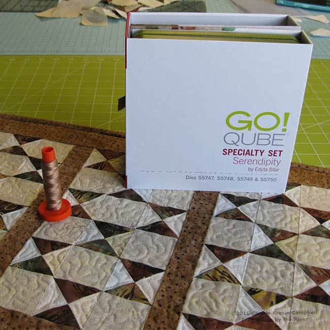 Aurifil thread used on Serendipity table runner