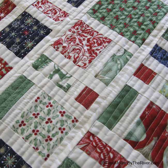 Closeup of quilting on the Scattered Christmas pillows