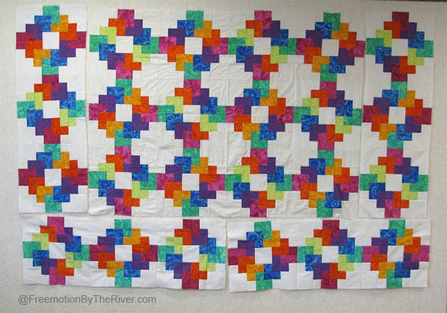 Rainbow quilt on design Wall