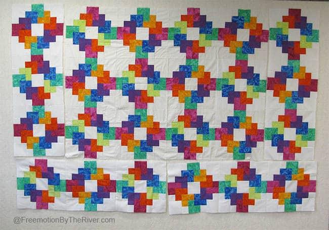 Rainbow quilt on design Wall
