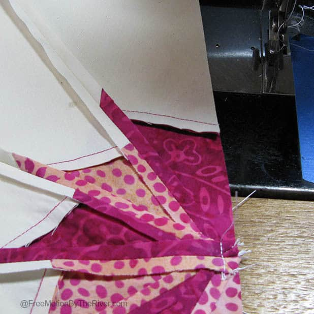 Sewing the center seam