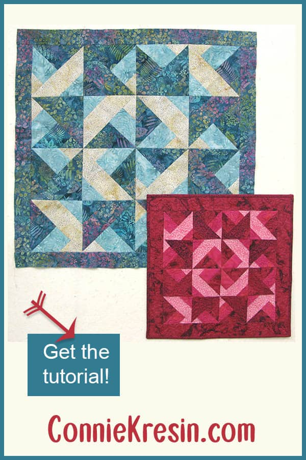 Easy tutorial for a strip pieced quilt or wall hanging using batik fabrics