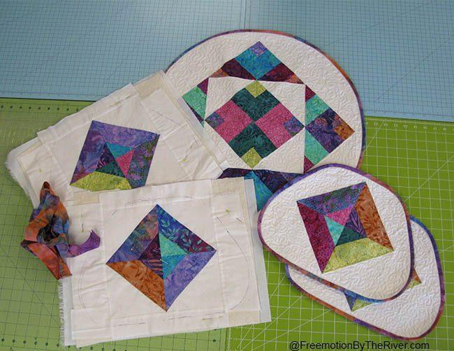 Batik table topper and place mats