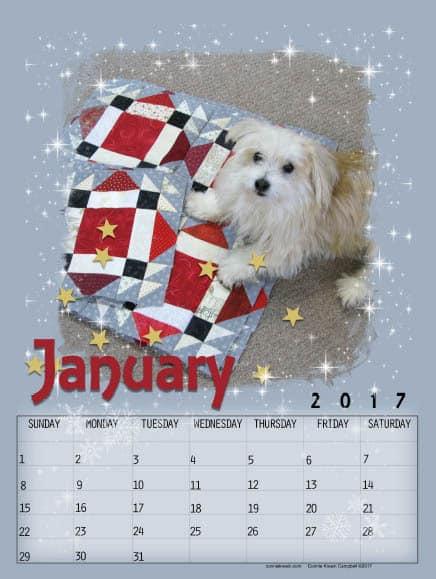 Free Calendar January 2017 Dog