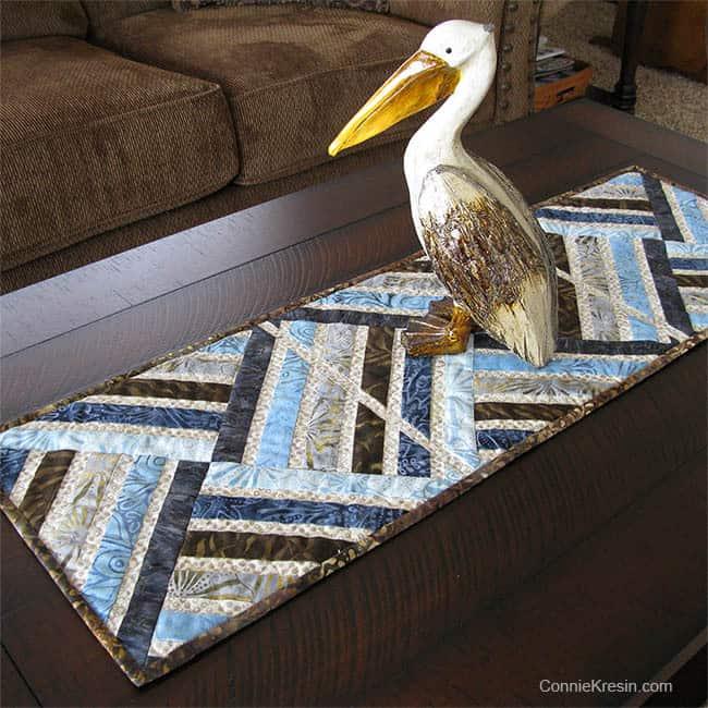 Jewel Table Runner Tutorial in blues browns batiks