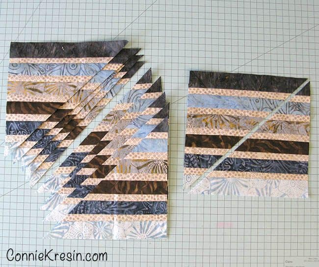 Jewel table runner cut the blocks diagonally